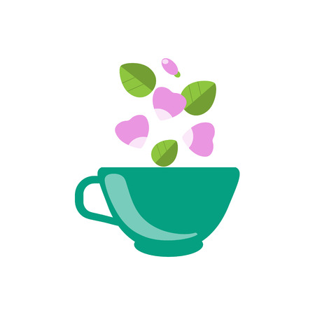 dog rose: Dog Rose Tea In Green Cup Flat Bright Color Simplified Vector Drawing On White Background Illustration
