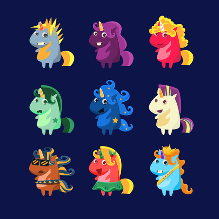 beauty pageant: Unicorns In Costumes Set Of Flat Bright Color Childish Cartoon Design Vector Illustrations Isolated On Dark Background