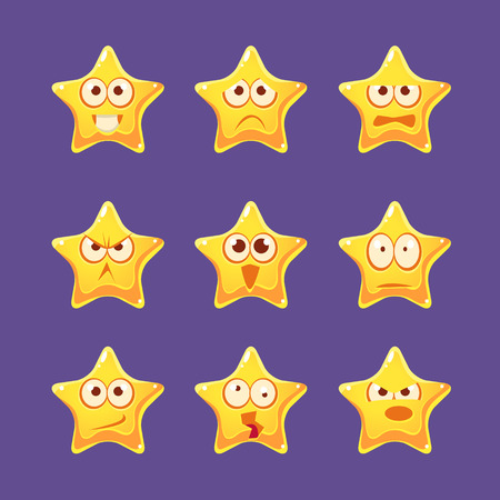 moods: Golden Star Emoji Character Set Of Flat Bright Color Trendy Cartoon Design Vector Icons Isolated On Violet Background