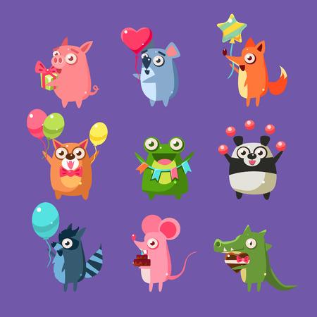 Animales en la fiesta de cumpleaños Conjunto de piso brillante de color de dibujos animados infantiles Diseño Ilustraciones de vectores aislados en el fondo violeta