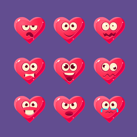 Pink Heart Emoji Character Set Of Flat Bright Color Trendy Cartoon Design Vector Icons Isolated On Violet Background