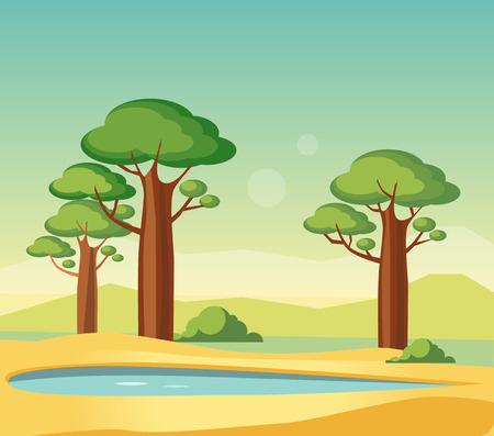 Oasis Met Baobabs Flat Helder Kleur vereenvoudigd VectorIllustratie In Realistische Cartoon Style Design