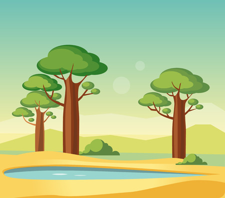 an oasis: Oasis With Baobabs Flat Bright Color Simplified Vector Illustration In Realistic Cartoon Style Design