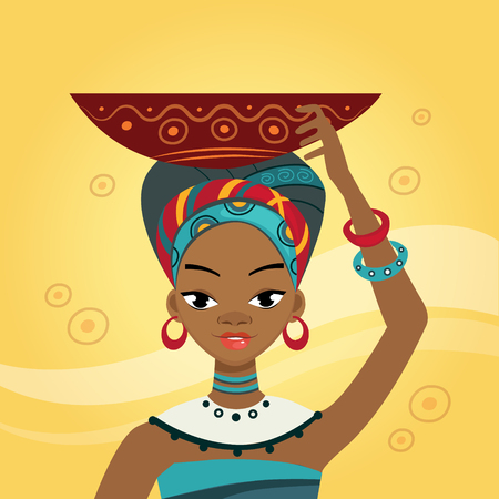 African Woman In Nation Clothes Flat Bright Color Simplified Vector Illustration In Realistic Cartoon Style Design Vector Illustration