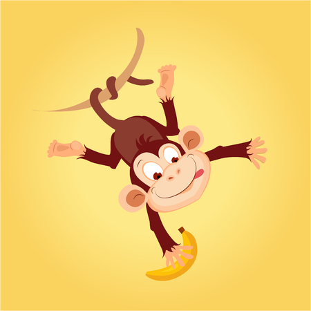 liana: Monkey Hanging On Liana Flat Bright Color Simplified Vector Illustration In Fun Cartoon Style Design