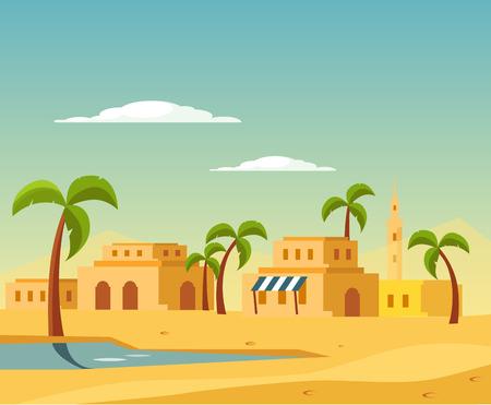 desert oasis: Oasis With The Town In Desert Flat Bright Color Simplified Vector Illustration In Realistic Cartoon Style Design Illustration