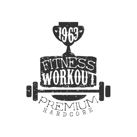 hardcore: Vintage Gym Fitness Stamp Collection Of Monochrome Vector Design Label On White Background