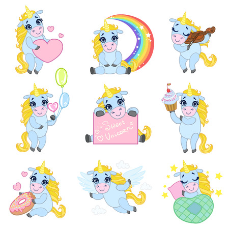 moon angels: Cute Unicorn Cartoon Set Of Outlined Illustrations In Cute Girly Cartoon Style Isolated On White Background