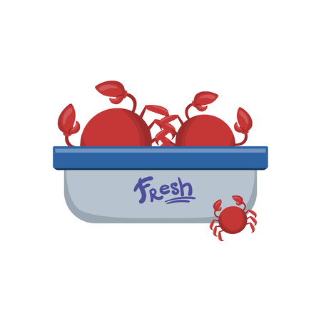 sunday market: Crabs In Tupperwear Container Flat Primitive Design Bright Color Vector Icon On White Background Illustration
