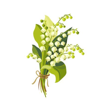 Lily of the Valley Hand Getrokken Realistische Flat Vector illustratie in artistieke schilderen stijl op witte achtergrond