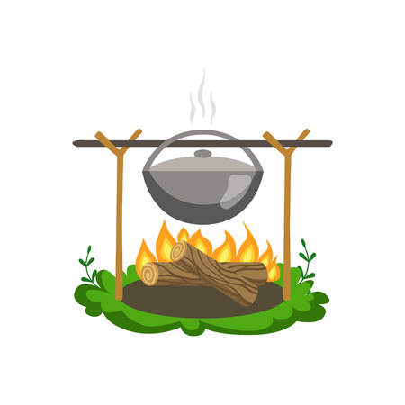 girly: Food Preparing On Bonfire Flat Vector Icon In Cute Girly Style Isolated On White Background Illustration