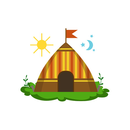 girly: Camping Wigwam In Forest Flat Vector Icon In Cute Girly Style Isolated On White Background