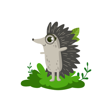 girly: Hedgehod Friendly Forest Animal Flat Vector Icon In Cute Girly Style Isolated On White Background
