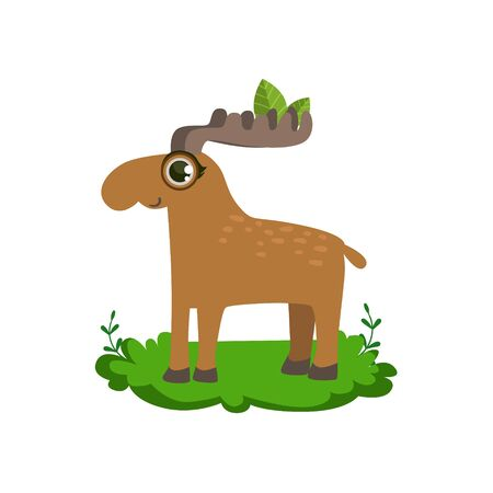 huge antlers: Moose Friendly Forest Animal Flat Vector Icon In Cute Girly Style Isolated On White Background