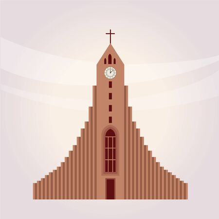 protestant: Modern Protestant Church Building Flat Bright Color Simplified Vector Illustration In Realistic Cartoon Style Design