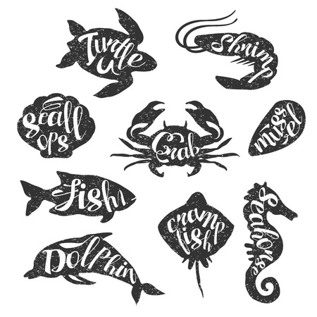stamp collection: Marine Animals Vintage Stamp Collection Of Monochrome Vector Design Labels On White Background