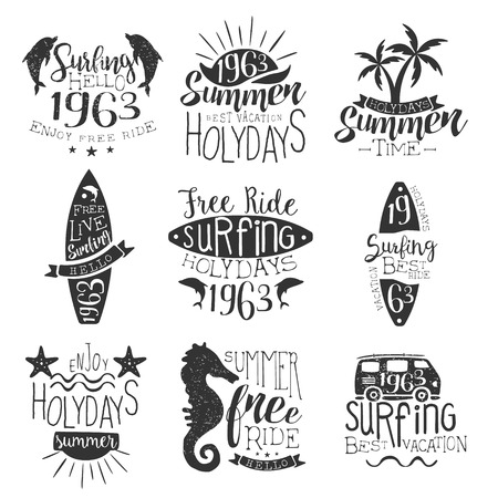 stamp collection: Surfing Holidays Vintage Stamp Collection Of Monochrome Vector Design Labels On White Background