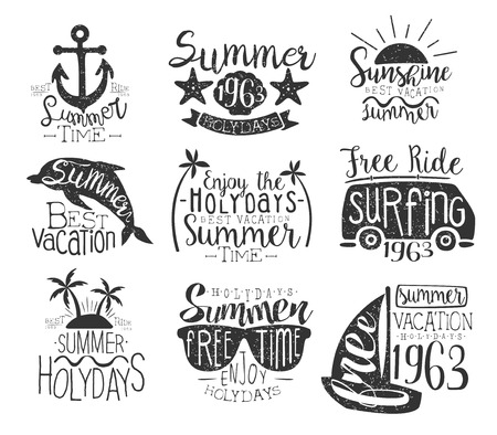 stamp collection: Summer Vacation Vintage Stamp Collection Of Monochrome Vector Design Labels On White Background