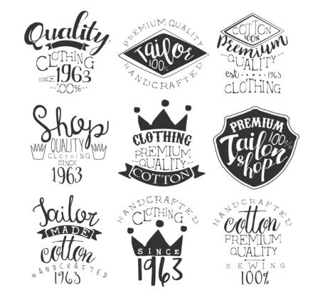 stamp collection: Sewing Shop Vintage Stamp Collection Of Monochrome Vector Design Labels On White Background