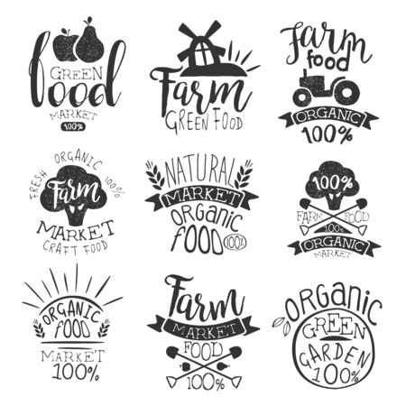 cultivator: Farm Products Market Vintage Stamp Collection Of Monochrome Vector Design Labels On White Background