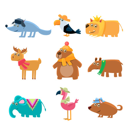 dressed: Dressed Animals Set Of Cute Childish Style Bright Color Design Icons Isolated On White Background Illustration