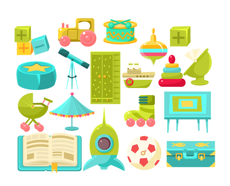 toy chest: Kids Room Interior Elements Set Of Bright Color Simplified Style Vector Icons Isolated On White Background