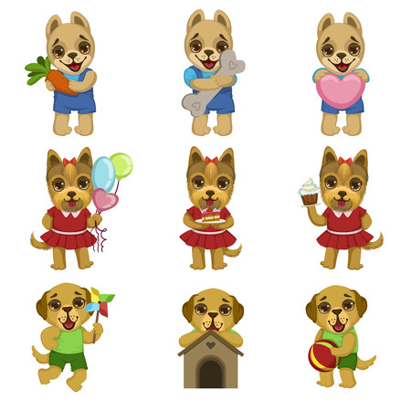 girly: Cute Dog Cartoon Set Of Colorful Illustrations In Cute Girly Cartoon Style Isolated On White Background