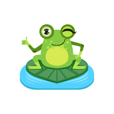 approving: Approving Cartoon Frog Character Flat Bright Color Vector Sticker Isolated On White Background In Simple Childish Style