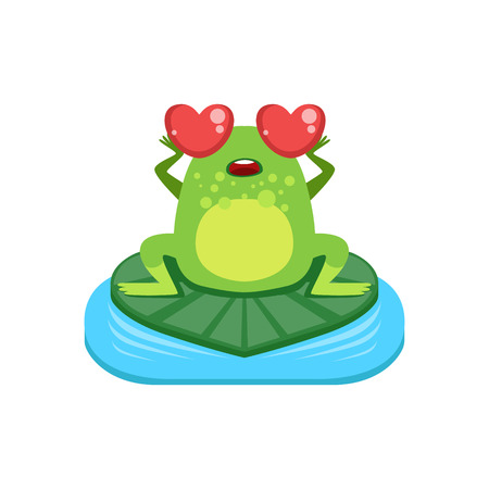 adoring: Cartoon Frog Character In Love Flat Bright Color Vector Sticker Isolated On White Background In Simple Childish Style