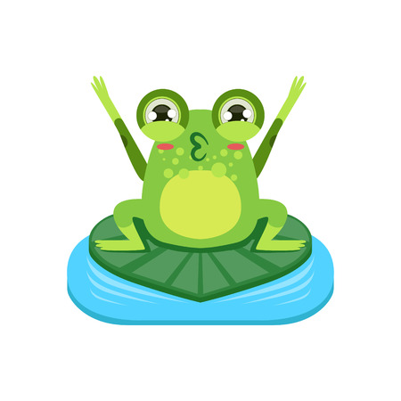 Cartoon Frog Character Cheering Flat Bright Color Vector Sticker Isolated On White Background In Simple Childish Style Ilustração