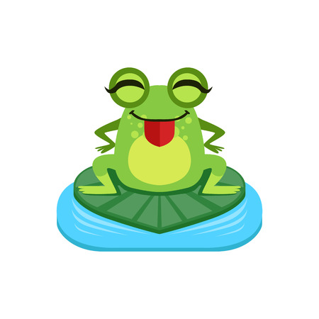 joking: Silly Cartoon Frog Character Flat Bright Color Vector Sticker Isolated On White Background In Simple Childish Style