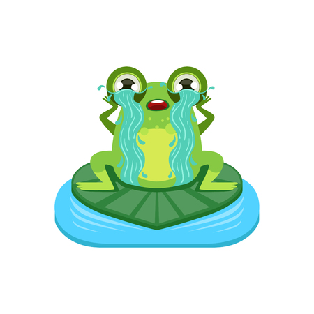 tearful: Tearful Cartoon Frog Character Flat Bright Color Vector Sticker Isolated On White Background In Simple Childish Style