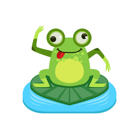 crazy frog: Crazy Cartoon Frog Character Flat Bright Color Vector Sticker Isolated On White Background In Simple Childish Style