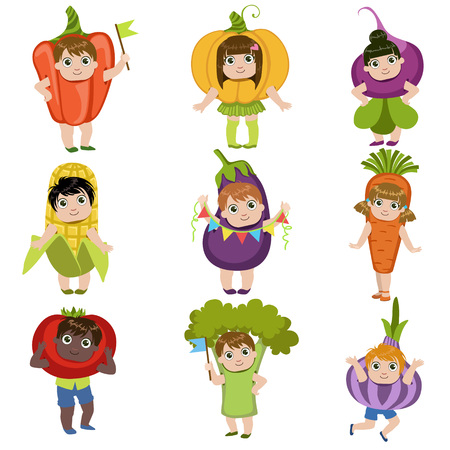 Kids Dressed As Vegetables Set Of Colorful Simple Design Vector Drawings Isolated On White Background