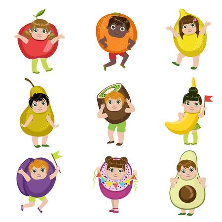 Les enfants habillés comme les fruits ensemble de Colorful design simple vecteur Dessins isolé sur fond blanc Banque d'images - 56858506