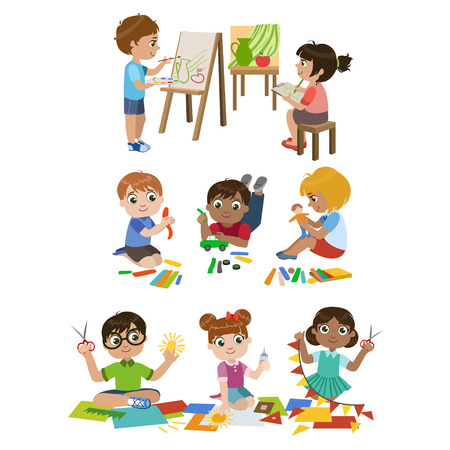 kinder garden: Kids Learning Craft Set Of Colorful Simple Design Vector Drawings Isolated On White Background Illustration