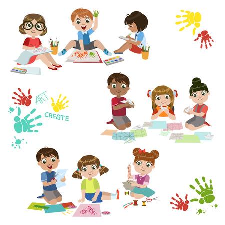 흰색 배경에 고립 된 다채로운 간단한 디자인 벡터 드로잉의 어린이 창의력 연습 세트 일러스트