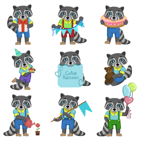 girly: Cute Boy Raccoon Cartoon Set Of Colorful Illustrations In Cute Girly Cartoon Style Isolated On White Background Illustration