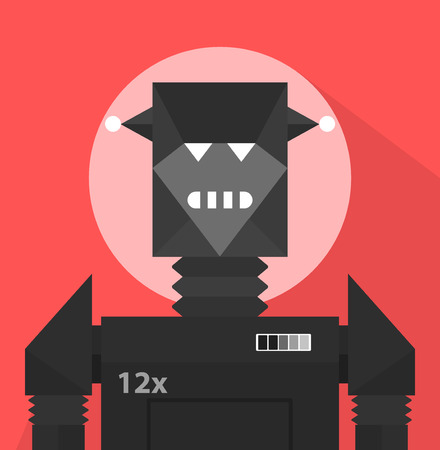 weird: Black Evil Robot Character Portrait Icon In Weird Graphic Flat Vector Style On Bright Color Background Illustration