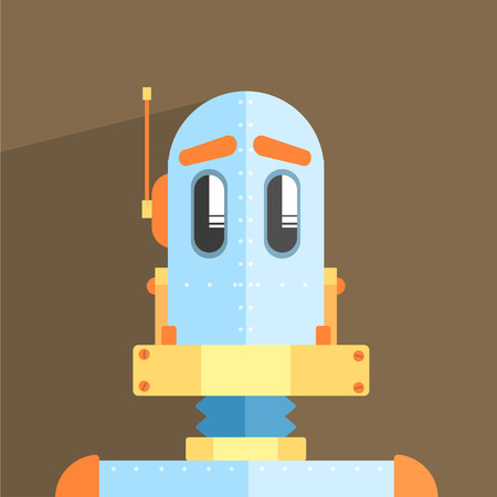 weird: Simpleton Robot Character Portrait Icon In Weird Graphic Flat Vector Style On Bright Color Background Illustration