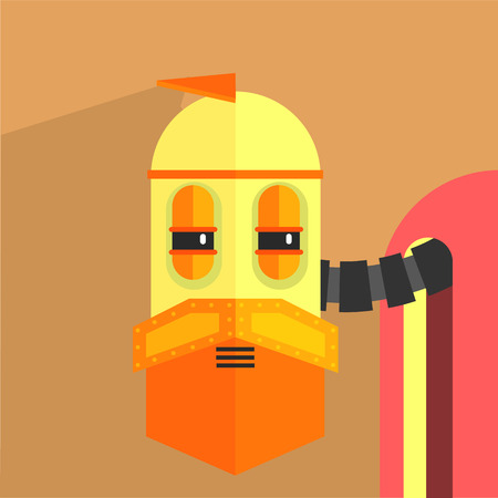 weird: Wile Old Robot Character Portrait Icon In Weird Graphic Flat Vector Style On Bright Color Background Illustration