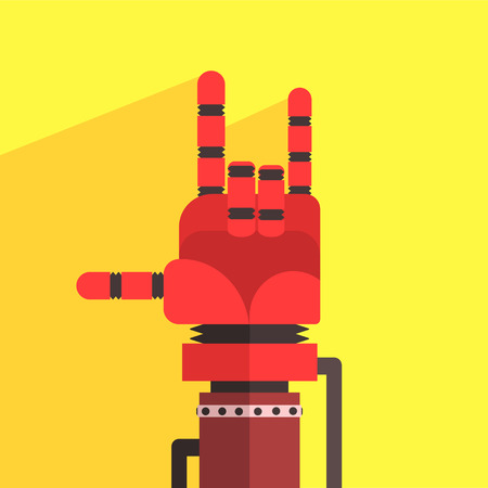 weird: Robot Hand Making Sign Of Horns Icon In Weird Graphic Flat Vector Style On Bright Color Background Illustration