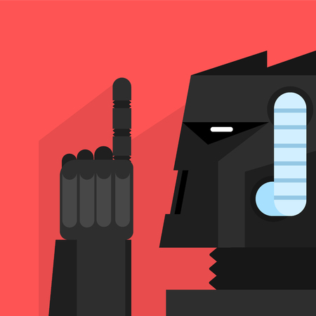 droid: Black Robot With Finger Up Portrait Icon In Weird Graphic Flat Vector Style On Bright Color Background Illustration