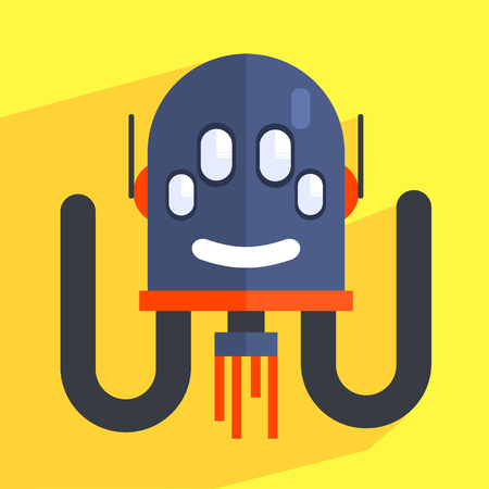 weird: Robot Separated Head Charcter Portrait Icon In Weird Graphic Flat Vector Style On Bright Color Background