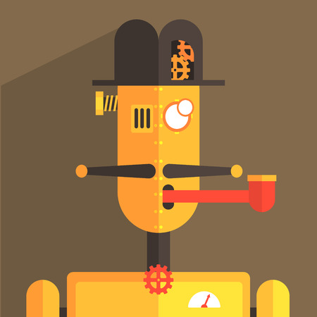weird: English Gentleman Robot Character Portrait Icon In Weird Graphic Flat Vector Style On Bright Color Background Illustration