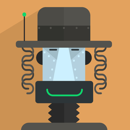 droid: Jewish Robot Character Portrait Icon In Weird Graphic Flat Vector Style On Bright Color Background