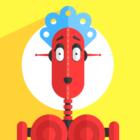 breast comic: Servant Girl Robot Character Portrait Icon In Weird Graphic Flat Vector Style On Bright Color Background