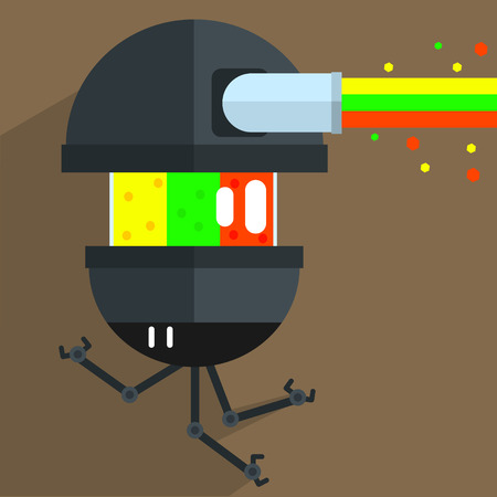 weird: Army Drone Robot Character Portrait Icon In Weird Graphic Flat Vector Style On Bright Color Background Illustration