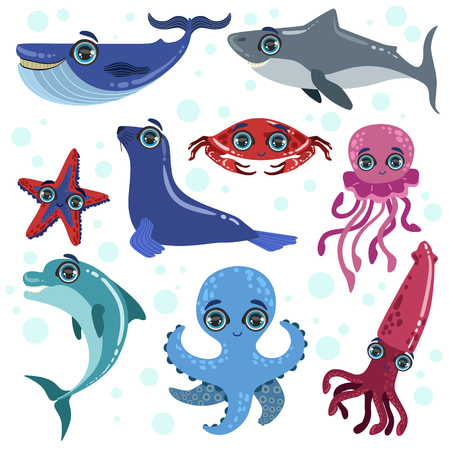 Marine Animals Set Of Bright Color Cartoon Style Vector Illustrations Isolated On White Background