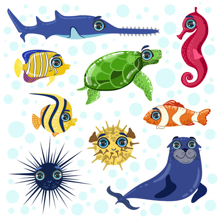 sea saw: Sea Animals Set Of Bright Color Cartoon Style Vector Illustrations Isolated On White Background